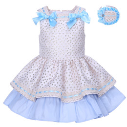 Wholesale Dress Child Garment - Pettigirl 2018 Summer Girls Dresses For Party Garment Golden Dot With Headwear Girl Boutique Clothes Children Costume For Kids G-DMGD001-129
