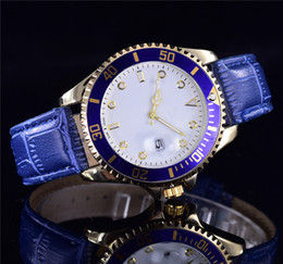 Wholesale Watch Leather Bracelet - 2017 New style aaa quality Luxury men and fashion women blue watches Automatic date leather bracelets stainless steel master clock belts