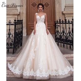 Wholesale Romantic Ball Gown Wedding Dresses - C.V New Sexy A-Line Plus Size Lace Wedding Dress 2017 Romantic Illusion Sheer Neck Backless Arab Bridal Dresses robe de mariée W0047