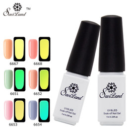 Wholesale fluorescent gel - Wholesale-Saviland Glow In The Dark Light Soak Off UV Gel Nail Polish Fluorescent Neon Luminous Esmalte Shine Varnish Nail Art Tools