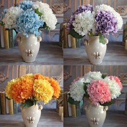 Wholesale Artificial Single Flowers Pink - Artificial Hydrangea Flower Fake Silk Single Hydrangeas 7 Colors for Wedding Centerpieces Home Party Decorative Flowers