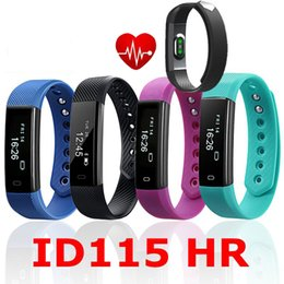 Wholesale Hot Pink Android - 2017 New Hot Sell Smart Band ID115 HR Bluetooth Wristband Heart Rate Monitor Fitness Tracker Pedometer Bracelet