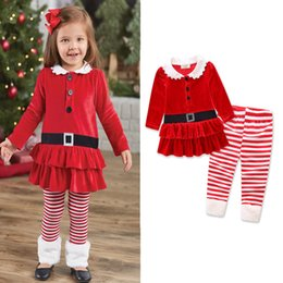 Wholesale Winter Clothings - spring baby girl christmas clothes sets girl kids santa suit striped pants girls children t shirt dress Xmas sets clothings red autumn