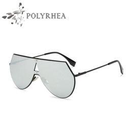 Wholesale Metal Sunglasses Big Box - Oversized Pilot Sunglasses Fashion Vintage Sunglasses Women Brand Designer Sun Glasses Flat Top Metal Frame Big Mirror Shades With Box
