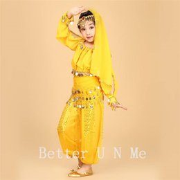 Wholesale Kids Indian Dance Costumes - 2017 Kids Belly Dance Costume Child Belly Dancing Indian Cloth Performance Stage Wear For Girl's Children 6pcs set