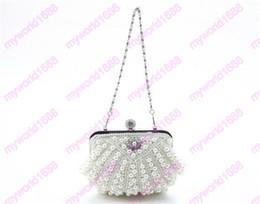 Wholesale Bridal Party Totes - Crystal Pearl Evening Bag Fashion Women Clutch Purse Ladies Chain Handbag Bridal Wedding Party Purse Bag bolsa mujer