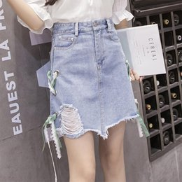 Wholesale Korean Jeans Skirts Fashion - 2017 summer new Korean version, wash water break, virtual side, side lacing, bust skirt, A word,jeans woman skirt skirts embroidered jeans