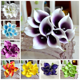 Wholesale Bouquet Flowers - 15 Colors Vintage Artificial Flowers 9 pieces lot Mini Purple in White Calla Lily Bouquets for Bridal Wedding Bouquet Decoration Fake Flower