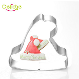 Wholesale Wholesale Bakeware Supplies - Delidge 20 pc Christmas Hat Cookie Mold Stainless Steel Hat Shape Cake Cutter Christmas Baking Supply DIY Bakeware