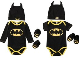 Wholesale Kids Sock Hat - Baby Romper+Hat+Socks 3pcs suit Pure Cotton Batman Toddler Infant Children Clothes long&short sleeve Rompers Onesies Jumpsuit kids