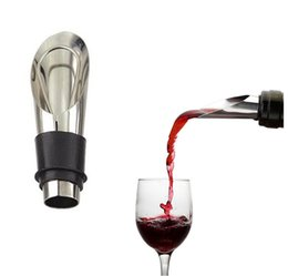 Tappi per bottiglie di vino in acciaio inossidabile online-Alta qualità 2 in 1 tappo del vino vino rosso strumento di versamento in acciaio inox tappi di bottiglia vino imbuto versatore vini bottiglia versatore