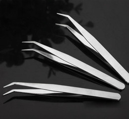 Wholesale Stainless Curved Tweezers - 100pcs pack High quality Stainless Steel Straight and Curved Nippers Tweezers Feeding Tongs for Reptile Snakes Lizards Spider