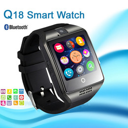 Wholesale Heart Rate Meters - Q18 Smart Watches Bluetooth Smartwatch with Camera TF card Sim Card Slot NFC for Android S7 edge and IOS Cell Phone VS for DZ09 M26 U8