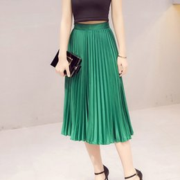 Wholesale Black High Waist Skirt Large - High Quality Autumn Winter Pleated Skirts With Lining Style Runway Women Vintage High Waist Large Swing Long Skirts Black Green Plus Size