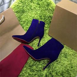 Wholesale High Heeled Western Boots - 2017 Hot Sale Paris High-heeled Zipper Women Winter Boots Short Shoes Suede Rivet Violet Luxurious Brand Boots Ankle Boots