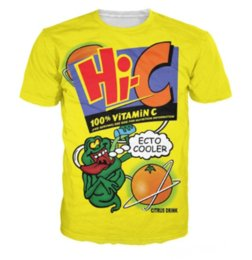 laranja camisetas Desconto Mais recente Moda Mens / Womans Ecto Refrigerador Laranja Hi-C Citrus Bebida Estilo Verão Tees 3D Impressão Casual T-Shirt Tops Plus Size