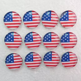 Wholesale Cheap Buttons Wholesale - G009 30pcs USA Flag noosa chunks glass ginger snaps jewelry snap buttons snap jewelry cheap