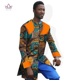 Wholesale Ankara Dresses - Wholesale- Ankara Fashions African Dresses for Men Long Sleeve Shirt Men Dashiki African Print Casual Shirts Slim Fit Cotton Shirt WYN250