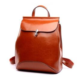 Wholesale Vintage Preppy Backpacks For Girls - Wholesale- Genuine Leather Backpacks Preppey Style School Bag for Girls Vintage Brown Travel Bag Women Double Shoulder feminine backpack