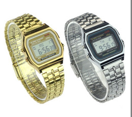 Wholesale Glass Alarm - Men Luxury Watches Stainless Steel Digital Business Watch Vintage Gold Silver Digital Alarm A159W Sports Watches