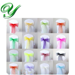 Wholesale Organza Chair Wraps - Organza chair sashes bow ties for Wedding party Christmas decoration ornament 7*108'' tulle table runner skirt wrapping favor gifts overlay