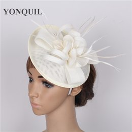 Wholesale White Feather Fascinator Wholesale - Party headwear ostrich quill adorned fascinator with feather base hat DIY combs hair clips wedding Imitation Sinamay attractive millinery