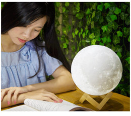 Wholesale Led Rechargeable Ball - 3D LED Night Magical Moon LED Light Moonlight Desk Lamp USB Rechargeable 3D Light Colors Stepless for Home Decoration Christmas lights