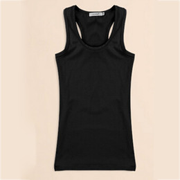 Wholesale Racer Back Tops - 2016 Casual Summer Women Solid Tank Top Racer Back Cami Vest No Sleeve T-Shirt Women's Tanks Camisole