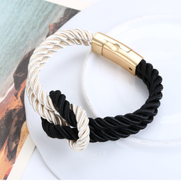 Wholesale Magnetic Clasps For Leather Braids - Wholesale-Fashion Braided Rope Chain Bracelet Magnetic Clasp Bow Charm Leather Bracelets & Bangles for Women braclets Men Jewelry