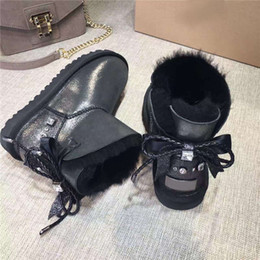 Wholesale Women Boots Warm Snow White - Free shipping winter boots Australian sheep leather fur waterproof 2017 winter new women boots bow warm snow boots