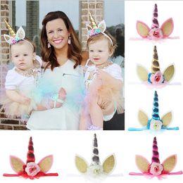 Wholesale kids fancy dresses - Unicorn Horn Head Party Kid Baby Hair Headband Lace Flower Crown Hair Bands Headwear Fancy Dress Cosplay Decorative OOA3089