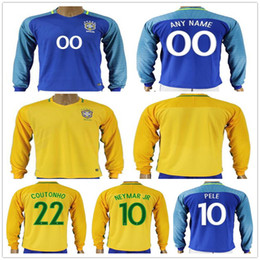 Wholesale David Luiz - Mens Brazil Long Sleeve Football Jersey Shirt 10 NEYMAR JR PELE RONALDINHO COUTONHO DAVID LUIZ MARCELO Yellow Blue Home Away Soccer Jerseys