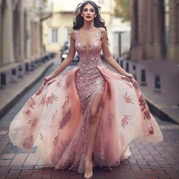 Wholesale White Dresses For Petite Women - Sexy Lace Backless Prom Formal Dresses 2017 Berta Sheer Neck Sleeveless With Detachable Train Split Arabic Evening Gowns For Women