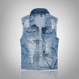 Wholesale Denim Vests For Men - Fall-Men's Denim Vest Cowboy Vintage Casual Sleeveless Jean Jacket Men Washed Blue Jean Vest For Men Hip Hop 2016 New Fashion