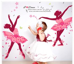 Wholesale Kids Ballet Stickers - Ballet Girl plane wall stickers pvc removable romantic room decorative art decals bedroom living room background covering sticker