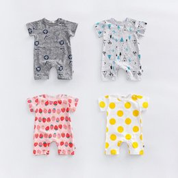Wholesale Strawberry Baby Romper Cotton - Baby clothes baby girl rompers shorts summer newborn children climbing clothes cotton short sleeved Romper strawberry climbing clothes