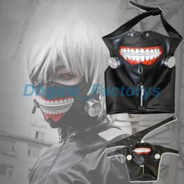 Wholesale zipper face mask - HOT Adjustable Belt Tokyo Ghoul Cosplay Kaneki Ken Zipper Black Cosplay Masks PU Leather Mask FREE SHIPPING