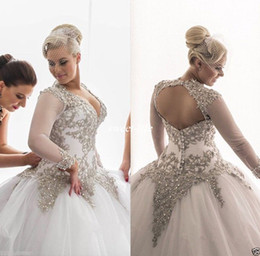 Wholesale Bridal Wedding Dress Rhinestone - 2017 Modest Long Sleeves Wedding Dresses Rhinestones Crystals Plunging Beaded Bridal Dress Backless Sheer Ball Gown Plus Size Wedding Gowns