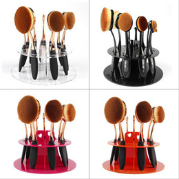 Wholesale Toothbrush Display Stand - HOT Sell 10 Hole Oval Makeup Brush Holder Dryer Rack Organizer Toothbrush Cosmetic Shelf Display Stand