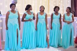 Wholesale Chiffon Plus Size Day Dresses - Light Blue Chiffon Long Bridesmaid Dresses Lace Applique Straps Pleats Size Split Maid Of Honor Gowns Plus Size Wedding Guest Party Dresses