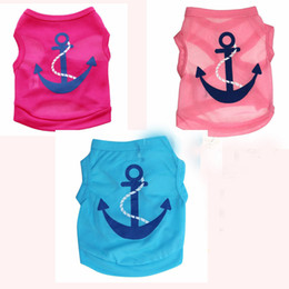 Wholesale Cute Jackets Free Shipping - Free Shipping Dog Apparel Fashion Cute Dog Summer Vest Pet Sweater Anchor Puppy Shirts Soft Coat Jacket Summer Dog Clothes Blue Pink