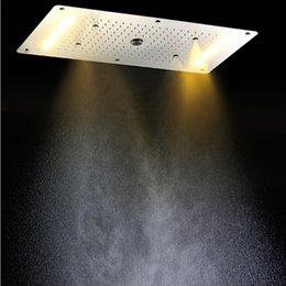 Wholesale Luxury Shower Accessories - Luxury Bathroom LED ceiling Shower Head Bahroom Accessories SUS304 700x380mm Functions Rain Waterfall Mist Bubble Shower