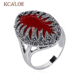 Wholesale Rings Marcasite - Wholesale- Red Stone Rings For Women Vintage Black Rhinestone White Gold Color Marcasite Statement Ring Bijoux Bagues Femme