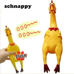 Wholesale Gadgets Chirstmas - Funny gadgets 32cm High Quality novelty Yellow rubber Dog Toy Fun Novelty Squawking Screaming Shrilling Rubber Chicken for kids
