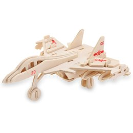 Wholesale Wooden Military Toys - Wholesale- Hot Sale SEALAND WP - 018 38 Pieces Compact Design Wooden 3D Aircraft Model Simulation Construction Kit Assembling Funny Toy