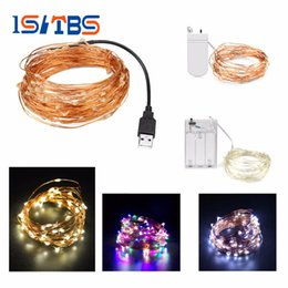 Acheter en ligne Rgb led net lights-2m 5m 10m USB Lampadaire LED Alimenté par batterie RGB Copper Wire Holiday String éclairage Fairy Christmas Trees Party éclairage domestique