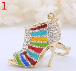 best black shoe bags wholesale - 2017 New Creative High Heel Shoes Keychains Rhinestone Keyring Women Girl Bag Charm Keychain Pendant Jewelry YCK12