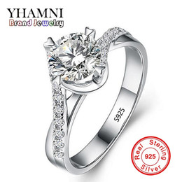 Wholesale crown design jewelry rings - YHAMNI NEW Design Fashion Jewelry Luxury Women Engagement Ring 925 Sterling Silver 5A Diamond Wedding Crown Rings JR071