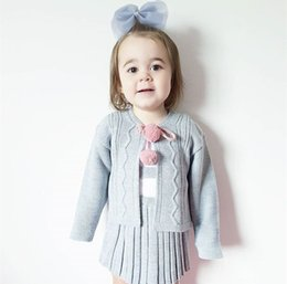 Wholesale Girls Knit Cardigan Vest - Girls Sweater Dress Kids Clothing 2017 Autumn Knitting Sleeveless Vest Dress + Ball Cardigan 2 pcs HX-133