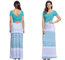 Wholesale Turquoise S Dress - Turquoise Crisscross Back Muliticolor Maxi Dress 2017 modest keyhole back Short Sleeve Autumn Casual Long Dresses
